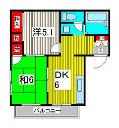 エステートピア黒田[102号室]の間取り