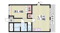 JR山陽新幹線 西明石駅 徒歩12分の賃貸マンション 1階1LDKの間取り