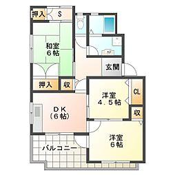 兵庫県神戸市垂水区霞ケ丘2丁目の賃貸マンションの間取り