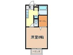静岡県富士市横割6丁目の賃貸アパートの間取り