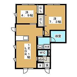ドリームハウス南佃[1階]の間取り