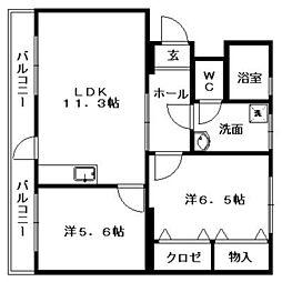 コンドミニアム桜樹[2階]の間取り