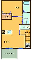 (仮)船尾新築アパート 2階1LDKの間取り