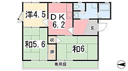 兵庫県揖保郡太子町鵤の賃貸アパートの間取り