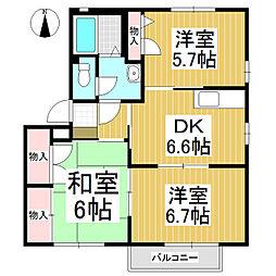 シャルマンK B棟[1階]の間取り