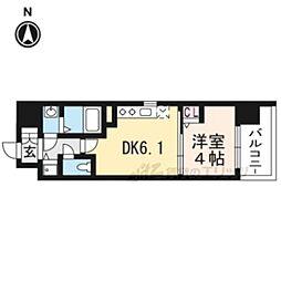 アスヴェル京都太秦412 4階1DKの間取り
