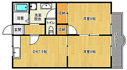 京都府京都市南区久世中久世町2丁目の賃貸アパートの間取り