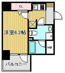 東急東横線 新丸子駅 徒歩5分の賃貸マンション 9階1Kの間取り