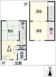 阪勝借家[2階]の間取り