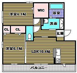 ボアソルテS(A棟)[2階]の間取り