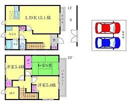 [テラスハウス] 大阪府吹田市藤白台4丁目 の賃貸【/】の間取り