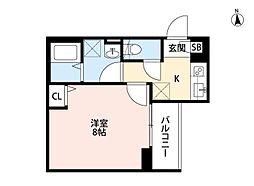 A-style武庫川 3階1Kの間取り