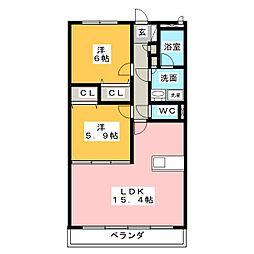 愛知県みよし市三好町上の賃貸マンションの間取り