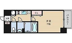ファーストステージ江戸堀パークサイド 14階1Kの間取り