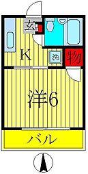 ハイツ綾彩[301号室]の間取り