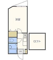 シンセイコーポ田隈[202号室号室]の間取り