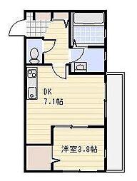 埼玉県川口市領家1丁目の賃貸アパートの間取り