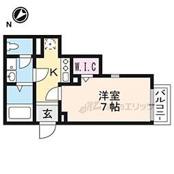 JR湖西線 堅田駅 徒歩6分の賃貸アパート 2階1Kの間取り