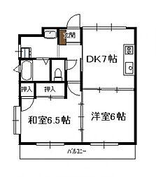 レジデンス蓮ケ池(2DK)[302号号室]の間取り