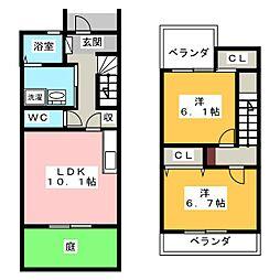 [テラスハウス] 愛知県名古屋市西区野南町 の賃貸【愛知県 / 名古屋市西区】の間取り