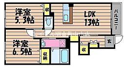 岡山県倉敷市連島町鶴新田の賃貸アパートの間取り