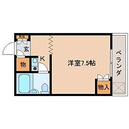 奈良県大和郡山市長安寺町の賃貸マンションの間取り