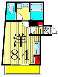Centro Aoto 2階ワンルームの間取り