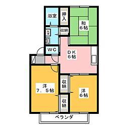 セゾン東安原[2階]の間取り
