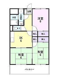 静岡県三島市谷田の賃貸マンションの間取り