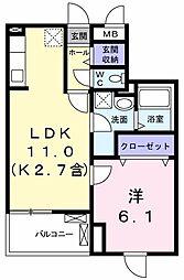 JR青梅線 小作駅 徒歩14分の賃貸マンション 1階1LDKの間取り