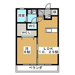 静岡県静岡市葵区上足洗3丁目の賃貸アパートの間取り