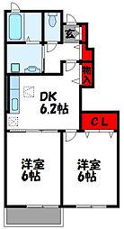 カーサプラシード A棟[2階]の間取り