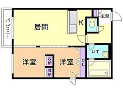 ピュアステージマルヤマ 2階1LDKの間取り