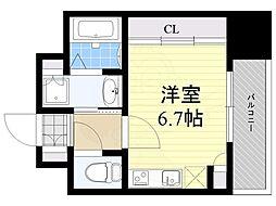 西鉄天神大牟田線 高宮駅 徒歩7分の賃貸マンション 5階ワンルームの間取り