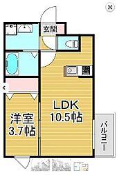 西鉄天神大牟田線 高宮駅 徒歩13分の賃貸マンション 5階1LDKの間取り
