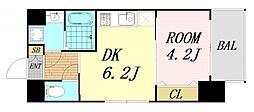 レオンヴァリエ大阪ベイシティ 10階1DKの間取り