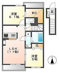 岡山県倉敷市東塚6丁目の賃貸アパートの間取り