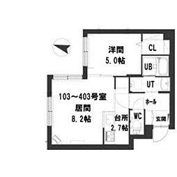グランメール Residence元町 4階1LDKの間取り