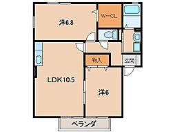 ローズ・シェトワ[2階]の間取り