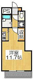 ライオンズマンション三条口[202号室]の間取り