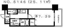 クローバー・グランデ田辺駅前 9階1Kの間取り