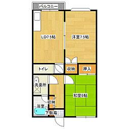 カーサ戸井[203号室]の間取り