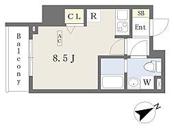 都営新宿線 本八幡駅 徒歩1分の賃貸マンション 8階ワンルームの間取り