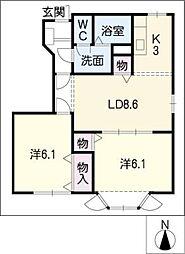 カームニッチB棟[1階]の間取り
