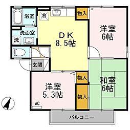 広島県三原市明神2丁目の賃貸アパートの間取り