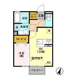 (仮)D-room藤岡[205号室]の間取り