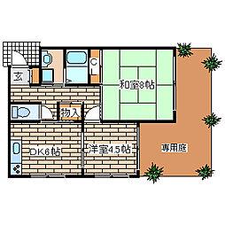 兵庫県神戸市須磨区南町3丁目の賃貸アパートの間取り