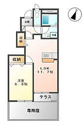 香川県丸亀市土器町西8の賃貸アパートの間取り