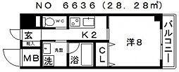 JINEVER(ジンエヴァー)上本町[7階]の間取り