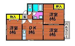 岡山県岡山市北区野田5丁目の賃貸アパートの間取り